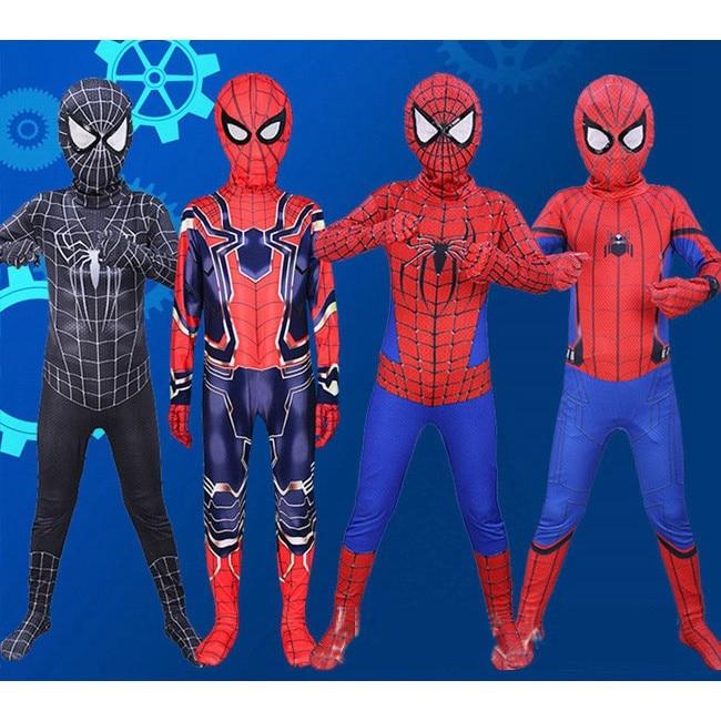 Superhero Spider Boy  Costume Spiderman Cosplay Bodysuit Wear Clothing With Mask