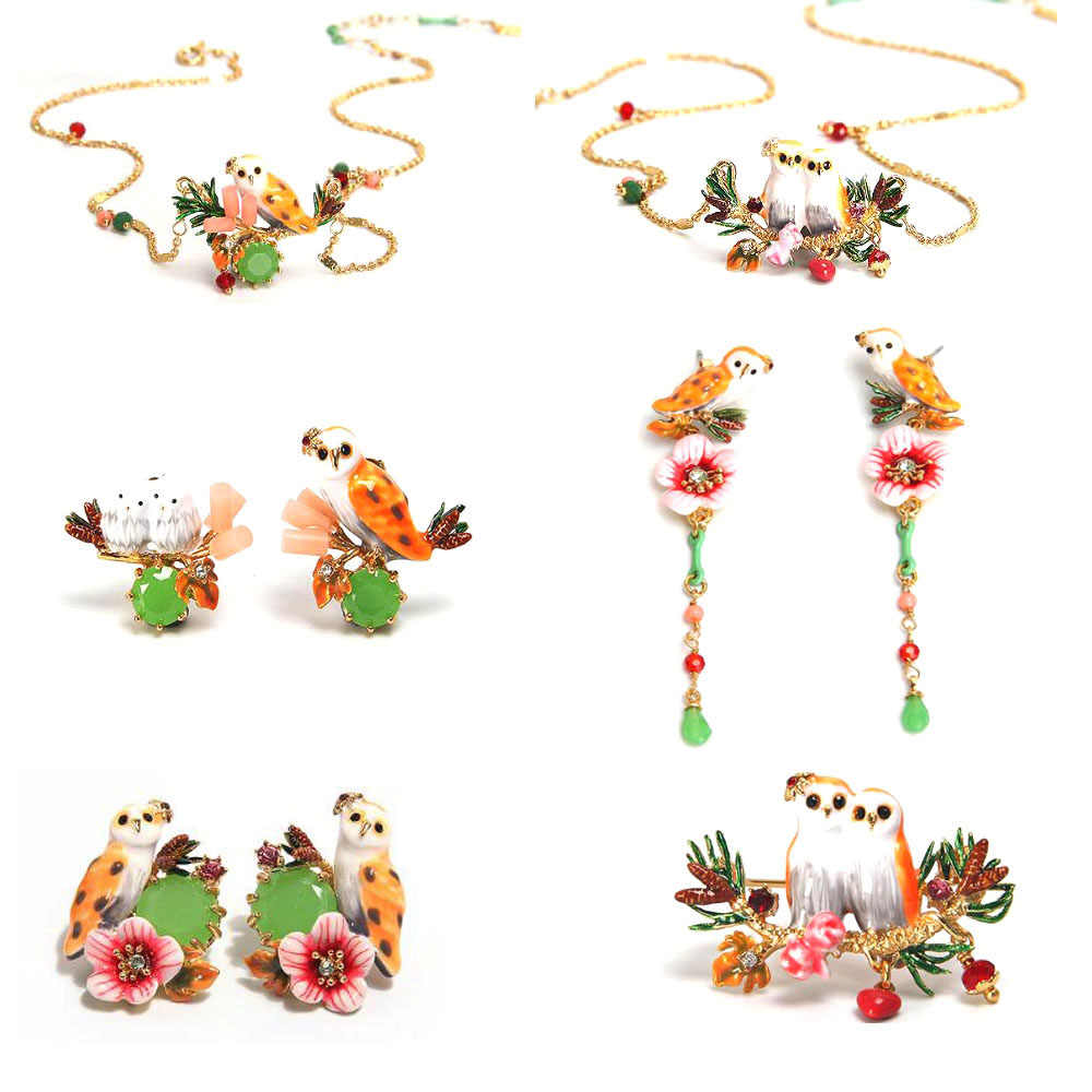 CSxjd Handmade design Enamel glaze cute Owl  flowers gem necklace earrings bracelets and rings