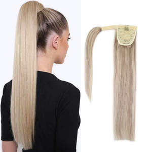 Human-Hair Extensions Ponytail Straight Clip-In 14-18-22-Remy 100%Natural