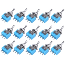 цена на AC 125V 6A SPDT ON-ON 3 Pin Latching Micro Toggle Switch 15 Pcs