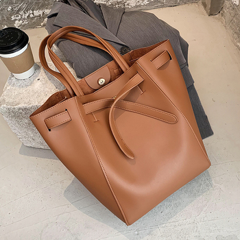 Casual Large Women's Bag High Capacity Tote Bags For Women 2020 Fashion Drawstring Women Shoulder Bag Solid Color Female Shopper fashion rivets and solid color design tote bag for women