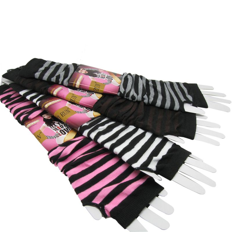 New Women Korean Version Of The Warm Long Gloves Arm Sets Wholesale Classic Black White Striped Finger Cotton Long Wristband New