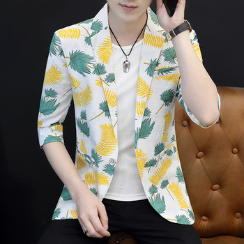 2020 Men's Printing Leisure Small blazer Youth Summer Thin Wrinkled Surface Comfortable Sleeve Sunscreen blazers