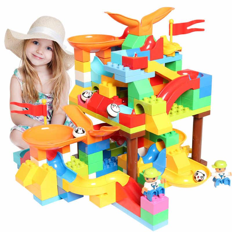 Bloques de construcción compatibles LegoINGlys Duploed bloques de construcción de carrera de mármol de gran tamaño
