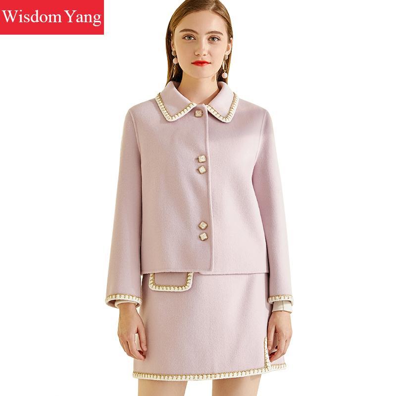 2 Pieces Set Winter Coat Jackets Women Suits Clothes Purple Cashmere Wool Korean Ladies A-line Skirts Woolen Overcoat Elegant