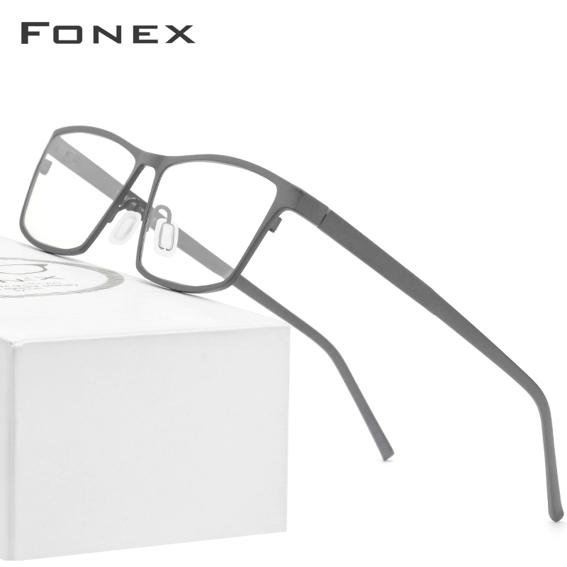 FONEX Pure Titanium Glasses Frame Men 2019 Prescription Eye Glasses For Men Square Eyeglasses Myopia Optical Frames Eyewear 871