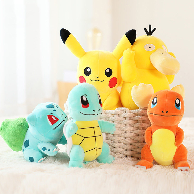 Anime Charmander Pikachued plush toy stuffed doll Squirtle Bulbasaur Jigglypuff Lapras Eevee pokemoned Peluche Gift For kid 1