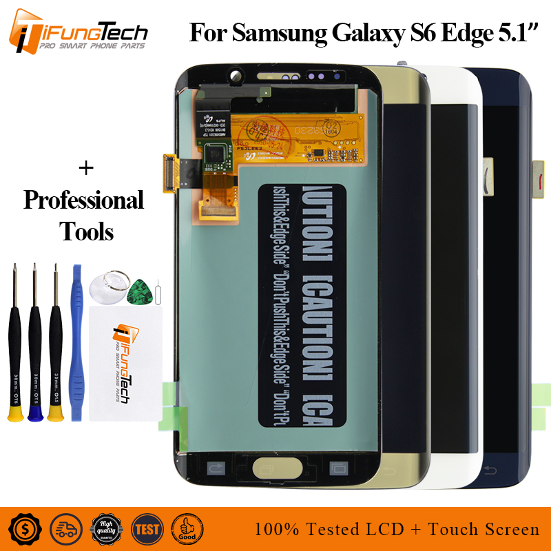 Original For Samsung Galaxy S6 Edge LCD G925 G925F SM-G925F Display Touch Screen Digitizer Assembly with frame S6 edge Lcd image