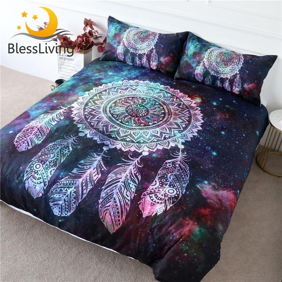 BlessLiving Dreamcatcher Bedding Set Galaxy Quilt Cover Bohemian Mandala Bedclothes 3-Piece Green Red Nebula Soft Home Textiles