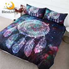 BlessLiving Dreamcatcher Bedding Set Galaxy Quilt Cover Bohemian Mandala Bedclothes 3-Piece Green Red Nebula Soft Home Textiles