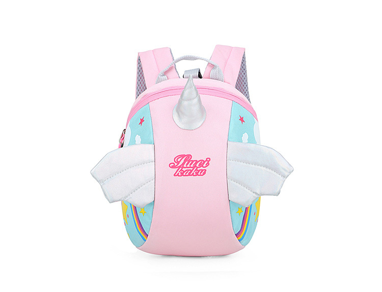 Nylon Fabric Panelled Preschool Backpack Baby Girls Mini Unicorn School Bags for Toddler Kids Cute Cartoon Casual Back Pack Blue (5)