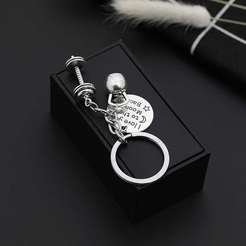 Chaveiro de carro chaveiro de moda moda ginásio esporte anel chave de jóias de fitness chaveiro de haltere