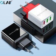 빠른 충전 3.0 usb 충전기 eu 플러그 벽 휴대 전화 빠른 충전 충전기 아이폰 x xs 8 7 삼성 s8 3 포트 어댑터 qc 3.0