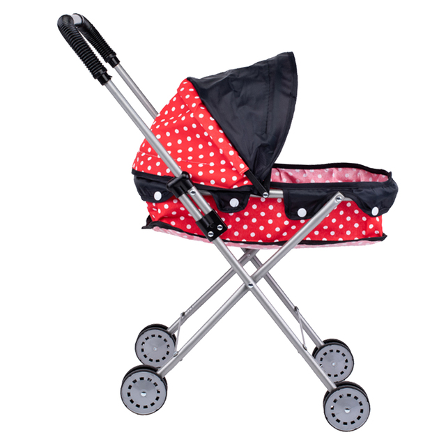 Simulation Foldable Dotted Baby Doll Stroller With Hood Kids Playhouse Toys 2