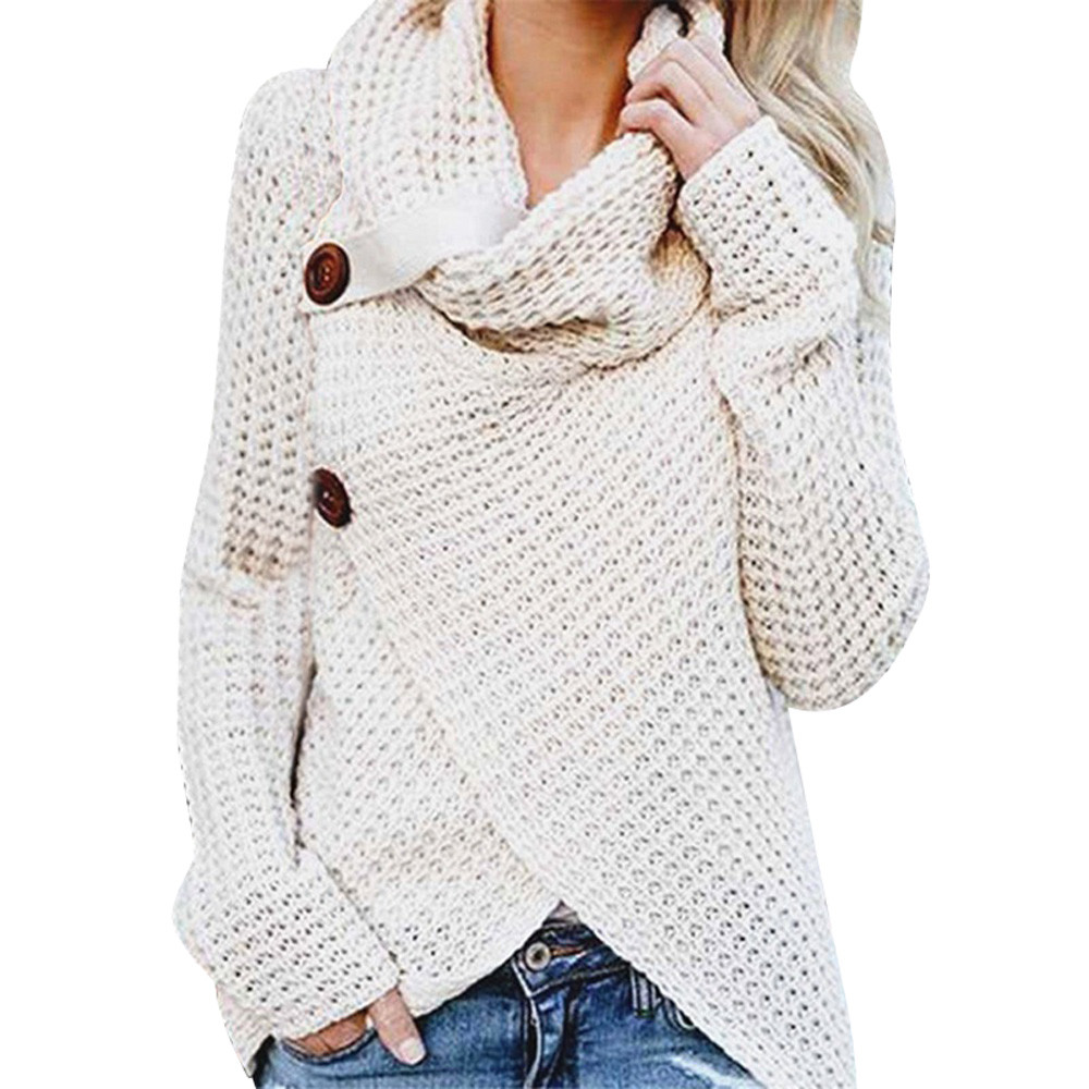 2020 Winter Clothes Women Hot  Pull Femme Long-sleeved Irregular Fashion Cardigan Women Turtleneck  Button Sweater Female W599