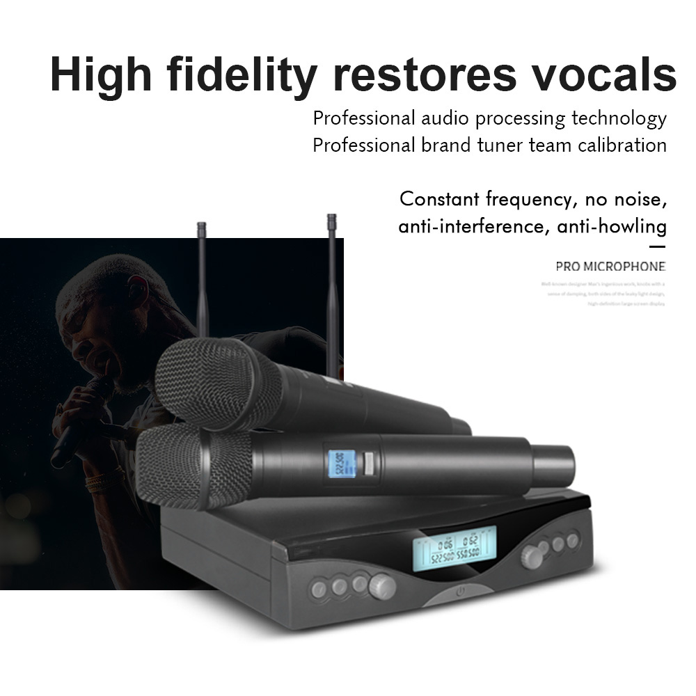G320AM Wireless Microphone System Professional UHF Automatic Handheld Microphone Frequency Adjustable 100M Receive