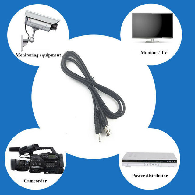 1M/3ft BNC Male to RCA Male Jack Coaxial Cable Connector Video Adapter for CCTV Camera system Camera Accessories|Transmission & Cables|   -