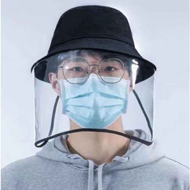 New Anti-fog Saliva Face Masks Windproof Fisherman Hat Removable Protection Cap Protective Face Shield Foldable Transparent Mask