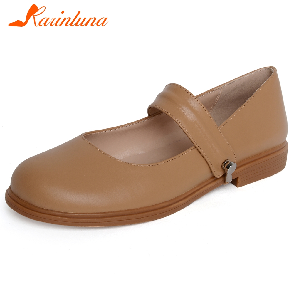 Karinluna 2020 Hot Sale Mary Janes Shoes Woman Flats Genuine Cow Leather Solid Comfortable Flats Women Shoes Footwear