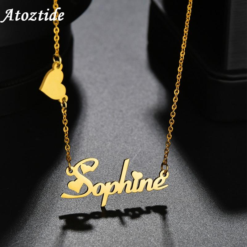 Atoztide collar de nombre personalizado de acero inoxidable con letras personalizadas, collar de mariposa con corona dorada, colgante con nombre de regalo