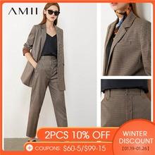 AMII Minimalism Autumn Vintage Women's Suit Olstyle Plaid Lapel Autumn Coat Causal High Waist Female Pants 12030294