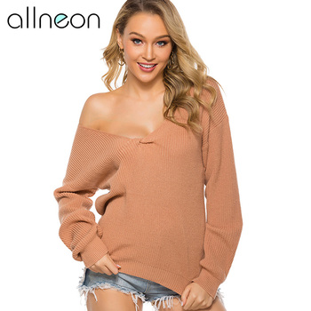 цена на QUEVOON Fashion Women's Pullovers Solid Deep V-neck Cross Front Long Sleeve Knitted Sweaters Basic Jumper Autumn Winter 2019 New