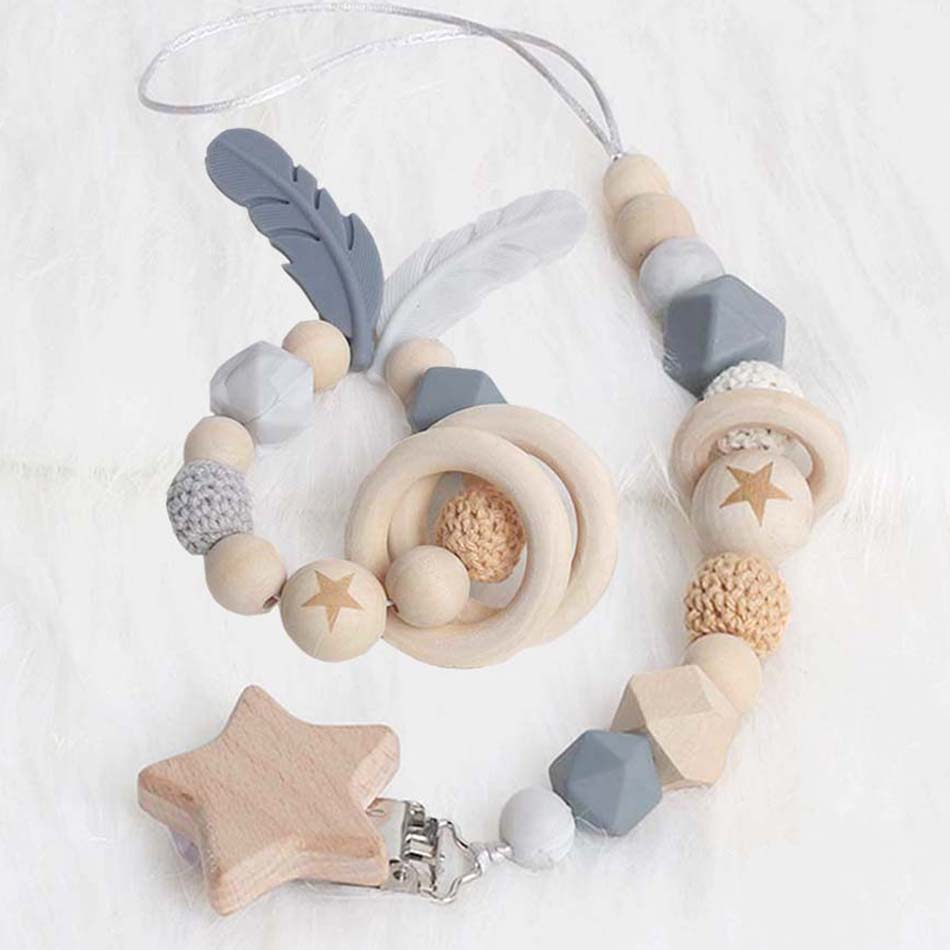 New Baby Pacifier Clip Chain Dummy Holder Nipples Children Pacifier Clips Pacifier Teether Teething Toy Cartoon Wooden Bracket