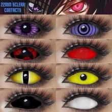 1 Pair 22mm Sclera Contacts Halloween Anime Cosplay Contact Lens Crazy Lens Sasuke Sharingan White Black Colored Lenses