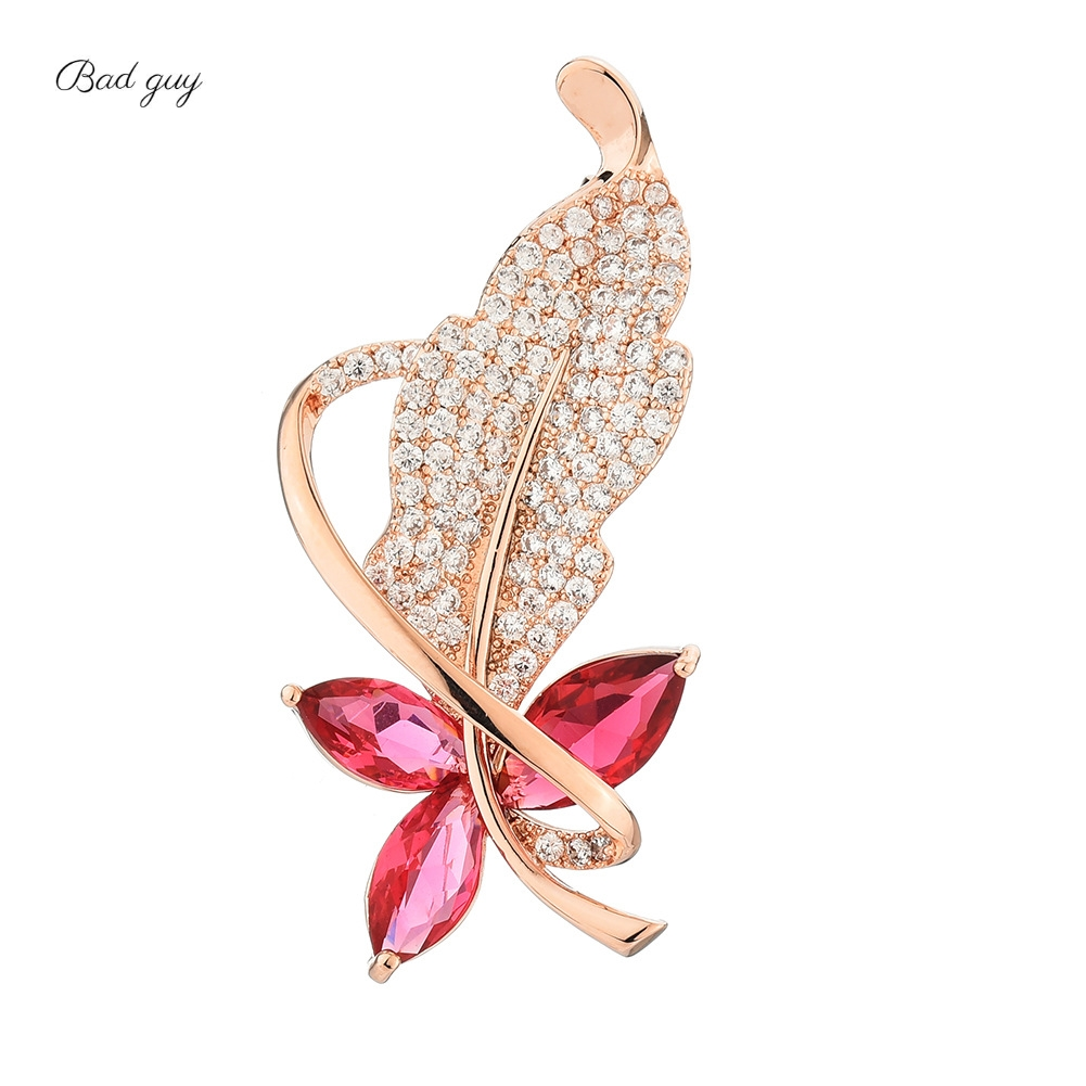 Gold Leaf Zircon Brooch Pin for Women's Red Crystal Brooch Jewelry Clothes Scarf Buckle Garment Accessories Fine Jewelry Gifts-0