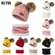 Winter Hat Scarf-Set Bonnet-Ring Knitted Beanie Girls Kids Children's And MLTBB for Boys