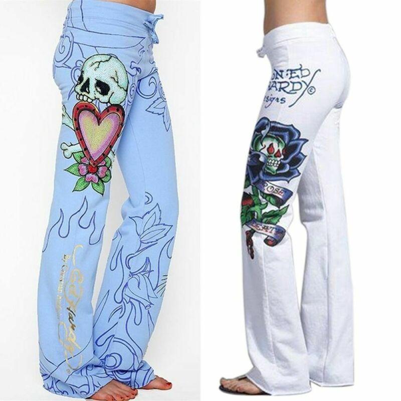Boho Modis Women Baggy Skull Rose Printed   Pants   Wide Leg Ladies Hip Hop Trousers High Waist Palazzo Femme Casual   Pants   Plus Size