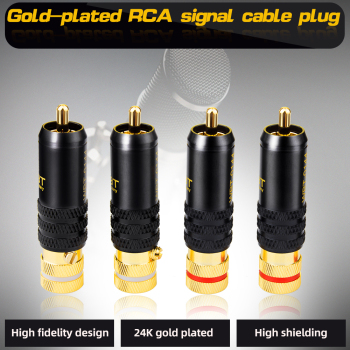 4pcs/Lot New Gold Plated Copper RCA Plug Mayitr Durable RCA Connector Screws Soldering Locking Audio Video WBT Plug 53mm*13mm 1