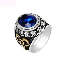 Luxury Freemasonry AG Rings Goat Titanium Steel Jewel With Top Crystal Jewelry For Men Anniversary Party Gifts
