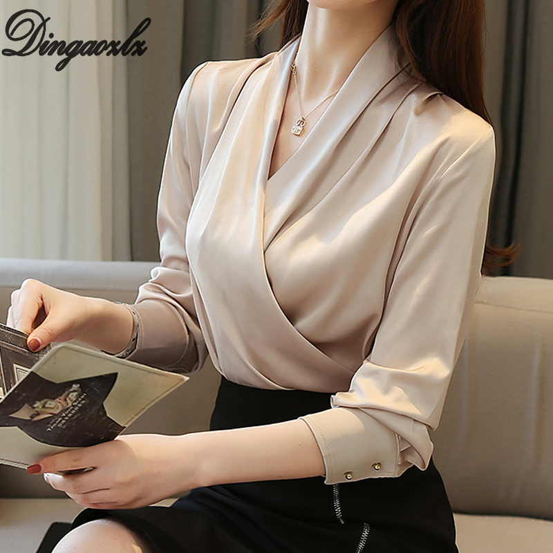 Dingaozlz Korean Fashion Clothing Long-sleeved Shirt V-neck Chiffon Blouse Solid Color Women Tops Blusa Feminina