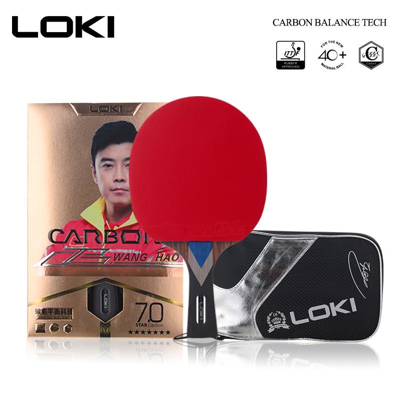 LOKI 7 Étoiles Professionnel Table Raquette de Tennis En Carbone Tube Technologie Ping-Pong Chauve-Souris Compétition Ping Pong Pagaie pour Attaque Rapide et Arc
