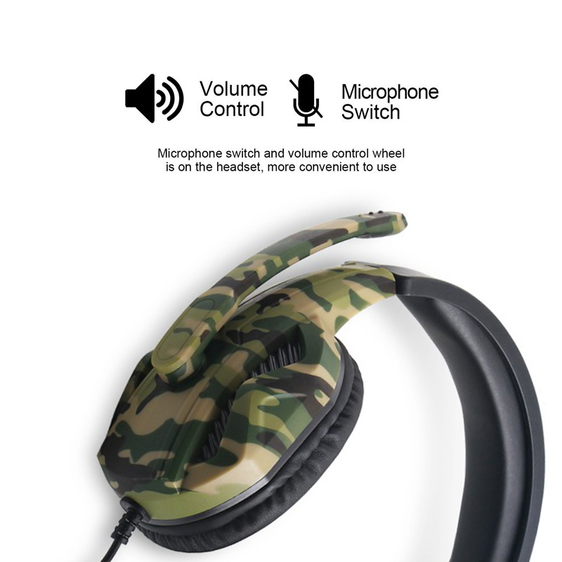 New 3.5mm Camouflage Gaming Headset Professional Gamer Stereo Head-mounted Headphone Computer Earphones for PS4 PS3 Xbox Switch