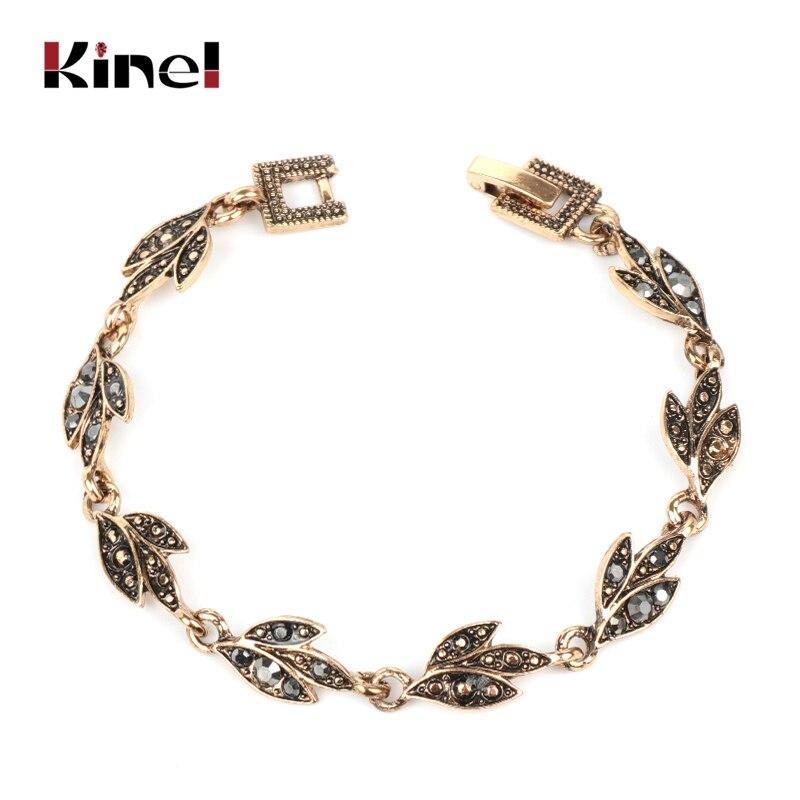 Kinel Fashion Charm Bracelets Bohemian Ethnic Black Crystal Petal Bracelets & Bangles For Women Vintage Jewelry Drop Shipping(China)