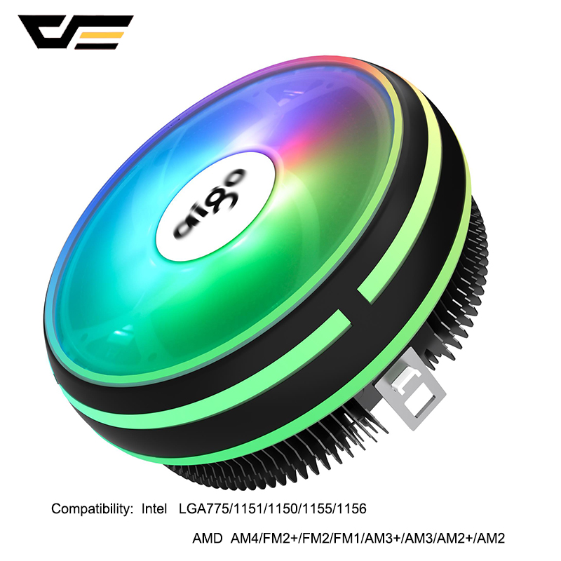DarkFlash Aigo CPU Cooling LED 120MM CPU Cooler PWM Fan Computer LED CPU Cooler Radiator LGA 1151/AM3/AM4 12V PC Cooling Fans