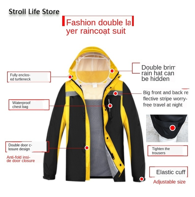 Waterproof Electric Motorcycle Raincoat Poncho Women Split Adult Hiking Jacket Rain Pants Hiking Rainwear Capa De Chuva Gift 1