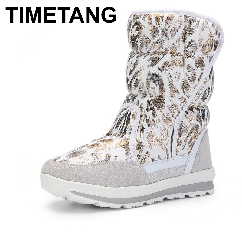 TIMETANGWhite gold leopard animal Winter boots nice warm color snow shoes fast buckle puton white fur strong largesize soleE1000