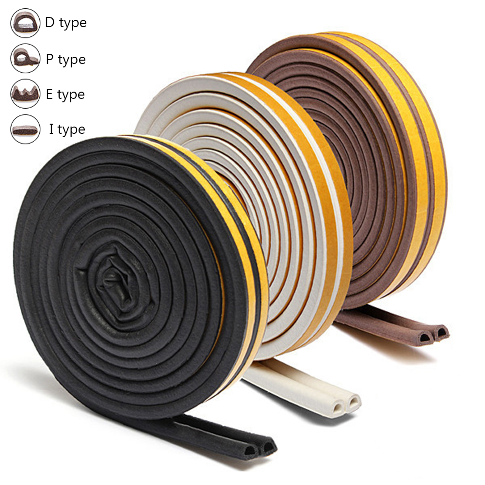 5/10m D/E/P/I Self Adhesive Anti Collision Tape Window Door Seal Strip Foam Draught Excluder Dustproof Noise Insulation Type