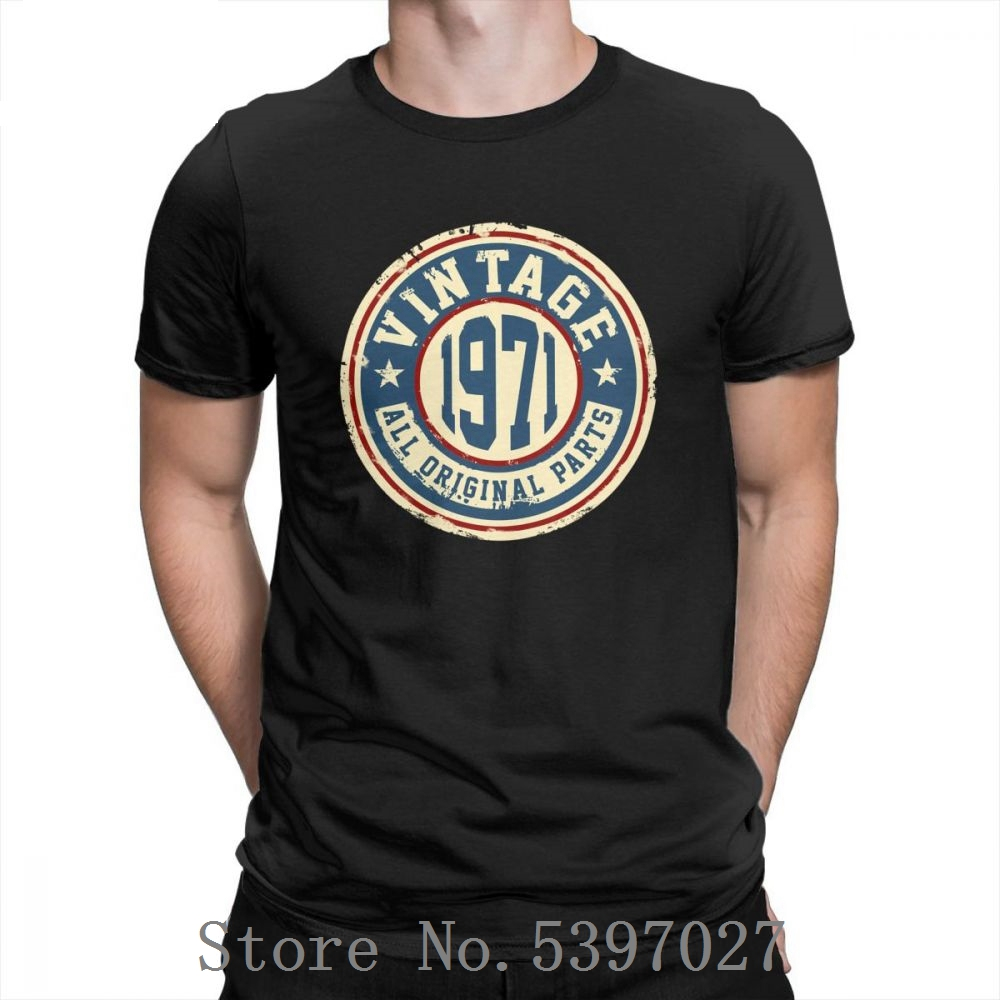 <font><b>Vintage</b></font> <font><b>1971</b></font> All Original Parts T Shirt 100% Cotton Plus Size Awesome Hipster T-Shirt Man's O-Neck Short Sleeve Tees printed image