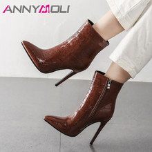 ANNYMOLI Autumn Ankle Boots Women Boots Zipper Thin Heels Short Boots Sexy Super High Heels Shoes Female Winter Plus Size 34-43 цена и фото