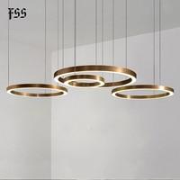 Fss moderno anel de ouro design led redondo lustres lâmpada lustre iluminação para sala estar projetos luzes luminárias interior