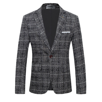 Men Casual Blazers Slim Fit Fashion Check Suit Jackets Business Party Prom Office Work Plaid Blazer Daily Life Single Breasted