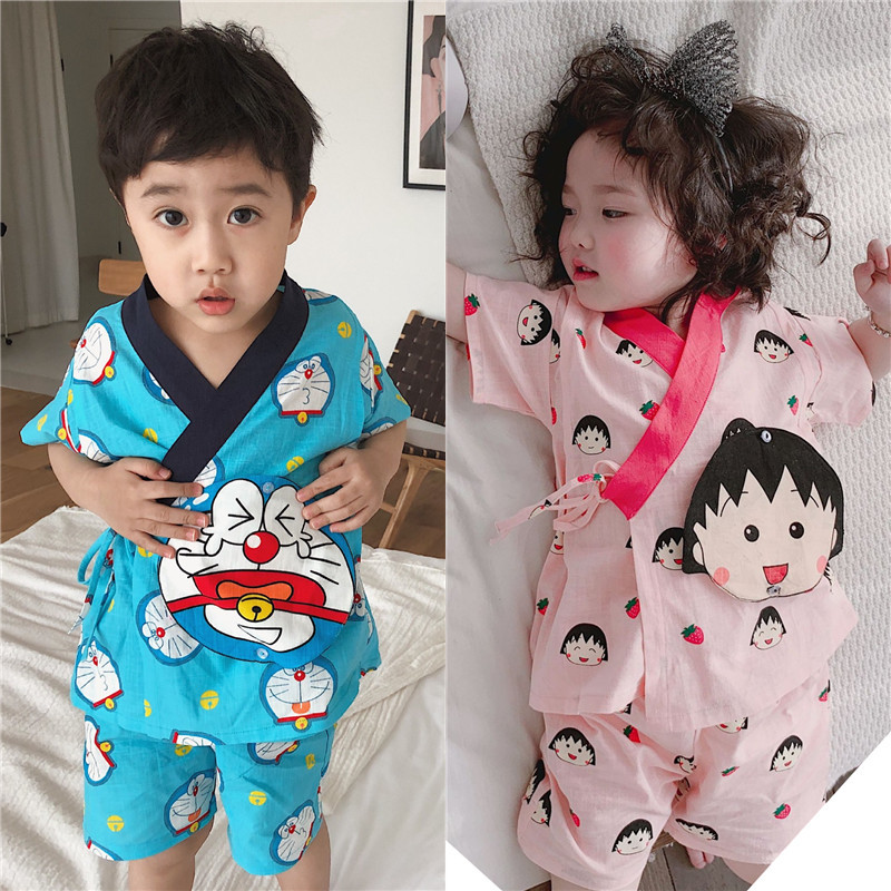 Tonytaobaby New Summer Clothes Boys and Girls Children's Wear Cartoon Characters Full of Japanese Pajamas