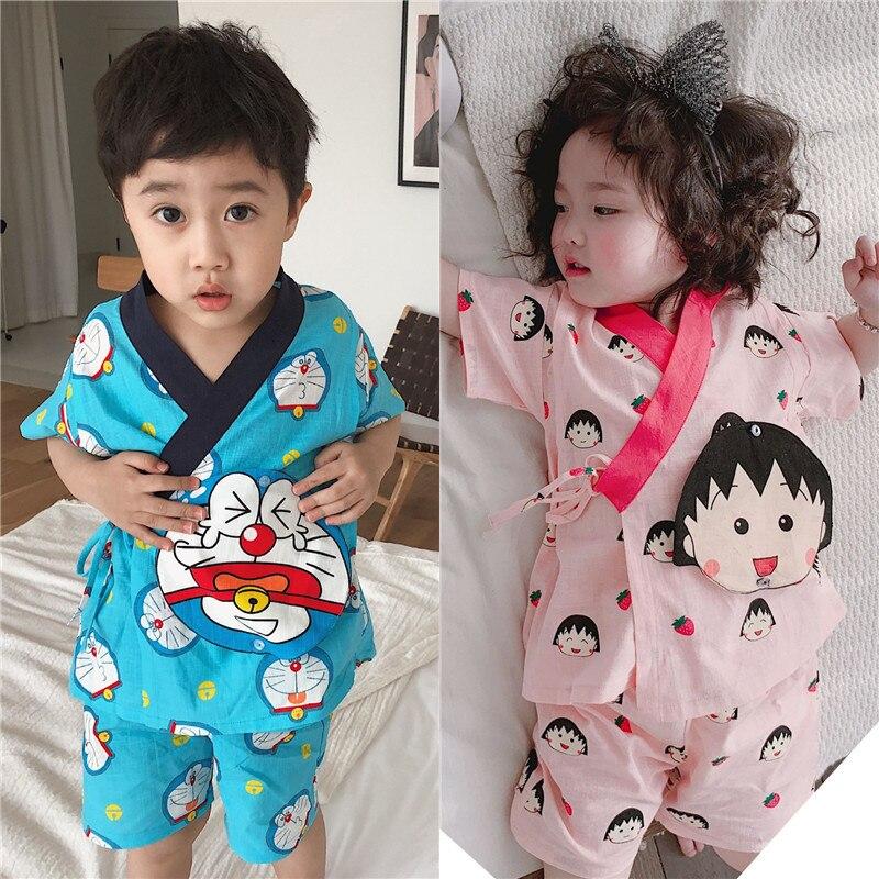 Где купить Tonytaobaby/Новая летняя одежда для мальчиков и девочек; детская одежда с героями мультфильмов; пижама в японском стиле