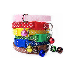 1PC Nylon Cat Dog Harness With Bell Pet Cute Fashion Paw Dog Cat Puppy Charm Adjustable Lovely Safety Collar Polka Dot Dog Leash(China)
