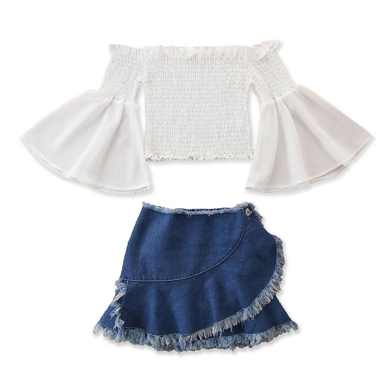 1-6Y Toddler Kid Baby Girl Clothes Set Flare Sleeve Long Sleeve Tops Denim Tassel Skirts Outfits Summer Spring Children Costumes(China)