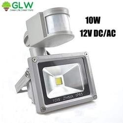 12V światło halogenowe LED do oświetlenia zewnętrznego czujnik 10W światła 6000K reflektor LED reflektor Cool White PIR Security Motion w Reflektory od Lampy i oświetlenie na